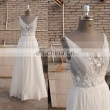 Pretty A-line Sexy Back Handmade Flowers Sequins Chiffon Bohemian wedding dress