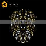 Hot sale lion rhinestone animal applique for children's clothing