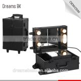 Guangdong Wholesale Beauty Professional PVC Material Train Trolley Makeup Case With Lighted Mirror