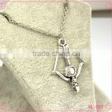 Fashion jewelry 2015 zinc alloy antique silver bow and arrow necklace