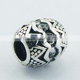 Ornate Sterling Silver Bali Barrel Bead Austrian Crystals