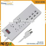 US/Canada/America USB extension Socket Portable Multiple Electrical Outlet 120V 16A with Surge Protector
