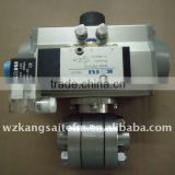 3 PC Pneumatic Ball Valve, with solenoid valve, pneumatic actuated ball valve, CF8M ball valve