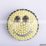 black and light yellow dots resin gem stud smily brooches