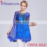 OEM ODM Wholesale blue color beautiful design hafe sleeve flower printing fancy China Silk dress