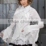 Cotton White Lace Short sleeve Cotton Lolita Blouse 81033