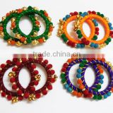 Multicolour velvet ball kada bangles