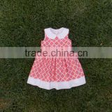 (CD941#PINK)2-6Y children apparel summer girl dress cotton woven checks dresses for baby girl