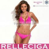 RELLECIGA Solid Color Bikini Series - Hot Pink 3D Blooming Flower Triangle Top Bikini Set with Moderate Push-up Molded Cups