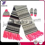 Wholesale winter fashion women knitted scarf beanie and glove sets knitting sets (can be customized)