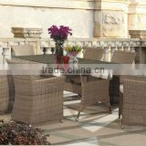 2013 Classic glass Dining room furniture-7pcs viro rehau cane rattan dining table and chair sets FCO-2071