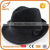 Custom vintage mens fedora felt hats black wool fedora men hat with bow                                                                                                         Supplier's Choice