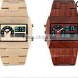 2015 Top Luxury Gift Items Bewell Limited Edition Men Large Face Maple Wooden Watch Quartz Digital Movement LED Face Wood Watch