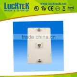 Telephone wall plate with single RJ11 jack modular mounted faceplate.