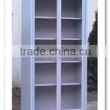 KFY-CB-15 White Metal Sliding Door Bookcase With 4-Shelf