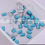 Factory Sale 10x14 mm Rectangle Sew On Acrylic Stones With Double Holes Plastic Beads With Holes