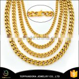2016 New Gold Necklace Chain 316L Stainless Steel 18K Gold Plated Rope Chain Men's Stainless Steel Necklace Chain