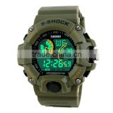 SKMEI dual time silicone digital analog watch men's sport s shock resist watch waterproofed
