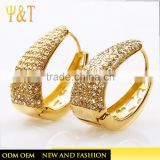 2016 Fashion 18K gold plated crstal double side stud earrings design pave diamond chandelier jhumka earrings jewelry