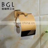 BAOGELI 12133 Buy direct from china factory wall mounted for bathroom set gold fishing with lid toilet paper dispenser