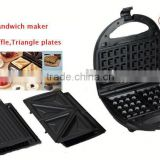A13 passed 3 in 1 belgian waffle maker,sandwich oven,grill maker,toaster