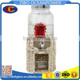 6L round embossing glass beverage dispenser set