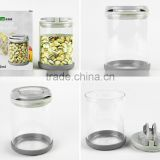smart glass storage jar/glass kitchen canister/kitchen canisters glass/sugar canisters/glass vacuum coffee canister