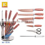 7pcs plastic handle Stainless steel non-stick knife set with acrylic block knife set