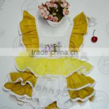 Wholesale sweet& fresh style with embroidery&eyelet lace on sleeve &cotton fabric yellow baby girls jumpsuits