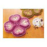 Pink Crochet Floor Rug Four Petals Shape Washable Crochet Flower Coasters