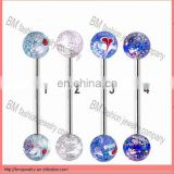 Acrylic glitter balls custom flat tongue rings for sale body jewelry Image