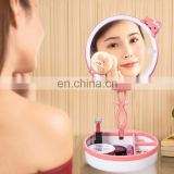 Multi-function Cute Cat Touch Screen Human Body Sensor USB Charging LED Makeup Mirror Desk Lamp Atmosphere Light