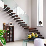 wood floating stair with stainless steel patch glass railing