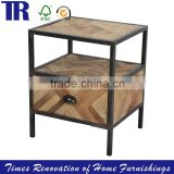 Metal Black Leg Side Table,Solid Wood Side Table, Drawer Side Table