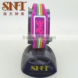 Fashion LED watch with silicone strap for lady