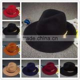 Link Chain Ribbon Decorated Wide Brim Jaz Vintage Wool Felt Man Fedora Hat                                                                         Quality Choice