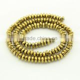HB3105 6X3mm Gold Plated Hematite Faceted Rondelle Spacer Beads,6mm gold jewelry spacer beads