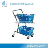 supermarket shopping carts for hand-baskets two layer