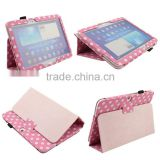 Lovely Pink Polka Dot folio business book style with sleep function Leather cover case for Samsung Galaxy Tab 3 10.1 p5200/p5210