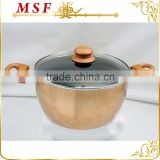 MSF-6690-casserole 24cm Casserole pot with brilliant copper painting heat resistant silicon handles                                                                                                         Supplier's Choice
