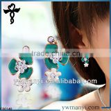 2014 new fashion ladies stud designs k gold flower petals rhinestones color enamel druzy earrings in zinc alloy jewelry E00140