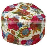 Floral Pouf Footstool Bright patchwork of vintage kantha-stitched fabric ottoman