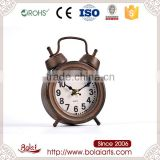 Retro alarm clock shape brown beige dial quartz vantage table clock