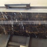 Portoro Black And Gold Marble Tiles Floor with Glass Backing
