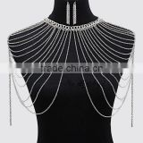 Fashion Summer sexy tassel jewelry shoulder necklace anti tarnish plated 18K multi layered thin chain statement body neckalce