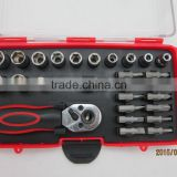 37pcs hand tool set with ratched handle ,screwdriver bits and sockets tool box made in china