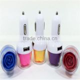 2015 BEST SELLING Colorful and Beautiful Rose Car Charger with Dual USB Interface for cellphone