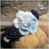 China's traditional handicrafts Ceramic flower Bracelet with braided rope white and blue two tones