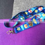 Custom logo heat transfer sublimation printed lanyard with metal hooks