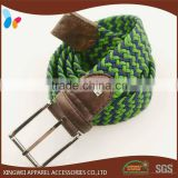 Multi-Color Stretch Elastic Braided Belt with Silver Belt Buckle